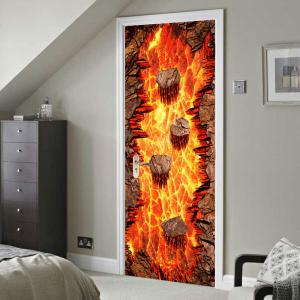Lava Printed Environmental Removable 2Pcs Door Stickers -