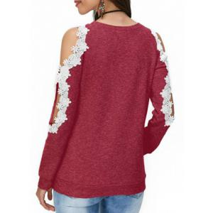 Cold Shoulder Lace Panel T-shirt -