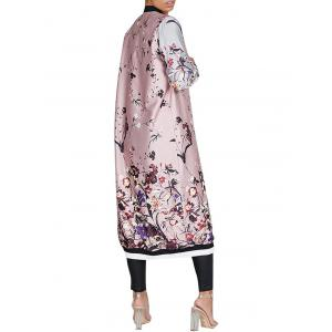 Flower Printed Zip Up Long Coat -