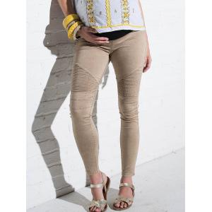 High Waist Stripy Panel Ninth Pants for Pregnant Woman -