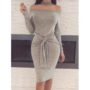 Off The Shoulder Bodycon Dress with Belt -