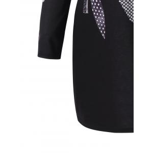 Plus Size Graphic Long Sleeve Tee Dress -