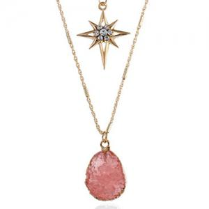 Layered Natural Stone Geometric Star Necklace -