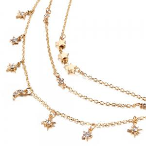 Moon Star Pattern Three Layered Necklace -