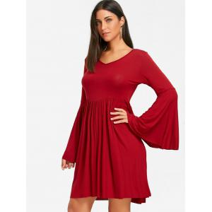 Cut Out Bell Sleeve Mini Swing Dress -