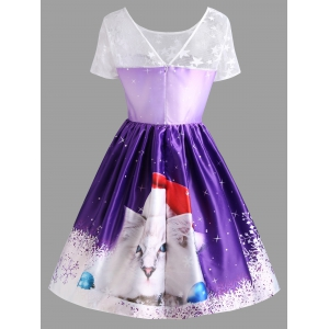 Lace Panel Christmas Cat Print Vintage Dress -
