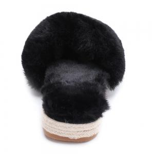 Faux Fur Strap Espadrille Sole Indoor Slippers -