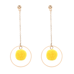 Metal Fuzzy Ball Chain Circle Earrings -