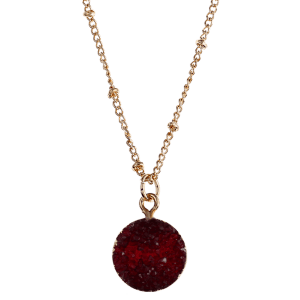 Round Natural Stone Pendant Necklace -