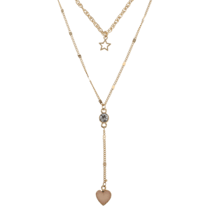 Layered Natural Stone Heart Star Necklace -