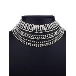 Collier strass métallique strass multicouches -