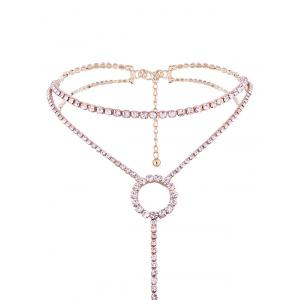 Collier Ras-de-Cou Long Pendante à Double Branches en Strass -