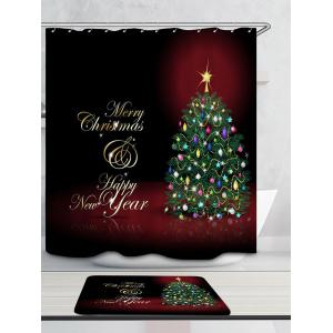Waterproof Merry Christmas Tree Printed Shower Curtain -