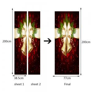 2Pcs Christmas Bell Printed Environmental Removable Door Stickers -