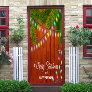 Christmas Woodgrain String Lights Motif de couverture de porte autocollants -