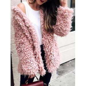 Collarless Faux Fur Coat -