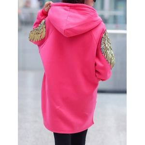 Long Sleeve Sequin Embellished Zipper Hoodie -