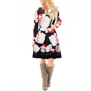 Christmas Santa Claus Print Keyhole Dress -