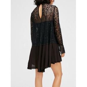 Keyhole Neck Lace Insert See Through Mini Dress -