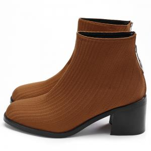 Chunky Heel Metal Ring Ribbed Boots -