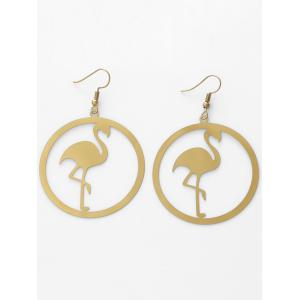 Circle Flamingo Shape Drop Earrings -