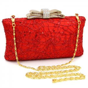 Beading Metallic Rhinestone Evening Bag -