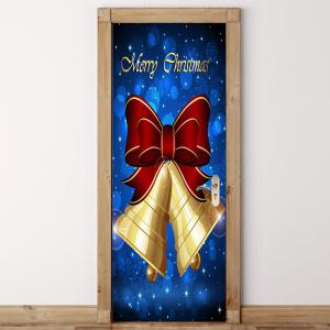 Bowknot Bell Pattern Christmas Door Art Stickers -