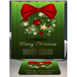 Waterproof Christmas Bowknot Printed Shower Curtain -