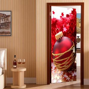 Golden Stars and Red Ball Pattern Environmental Removable Door Stickers -