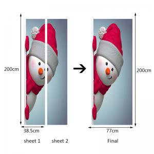 Red Hat Snowman Pattern Environmental Removable Door Stickers -