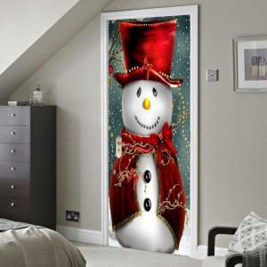 Environmental Removable Snowman Magician Printed Christmas Door Stickers -