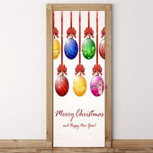 Environmental Removable Colorful Christmas Balls Printed Door Stickers -