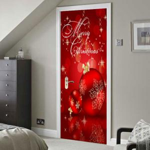 Red Christmas Balls Pattern Environmental Removable Door Stickers -