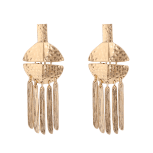 Alloy Statement Fringed Earrings -