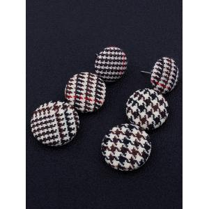 Houndstooth Round Pattern Long Drop Earrings -