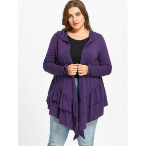 Plus Size Ruffle Open Front Hooded Cardigan -