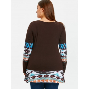 Aztec Print Panel Plus Size Tunic T-shirt -