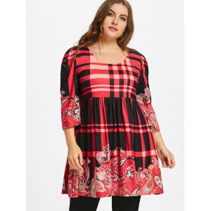 Plus Size Plaid Babydoll Tunic T-shirt -