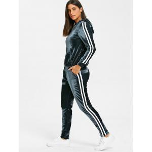 Striped Velvet Hooded Jacket and Drawstring Pants -