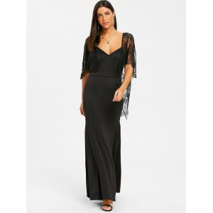 Lace Batwing Open Back Maxi Dress -