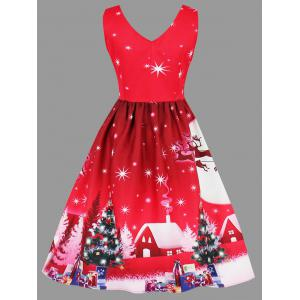 Christmas Tree Snowman Moon Plus Size Dress -