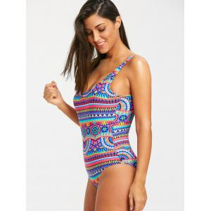 Printed Low Back Bohemian One Piece Swimwear -