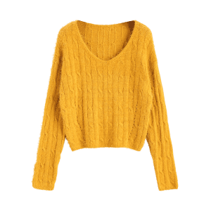 Cable Knit Textured Cropped Sweater -