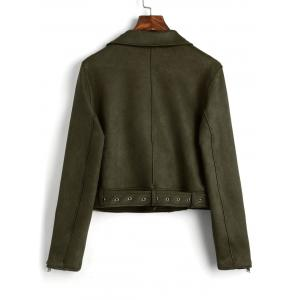 Faux Suede Zip Up Belted Jacket -