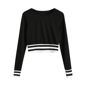 Stripes Panel Ribbed Cropped Sweatshirt -