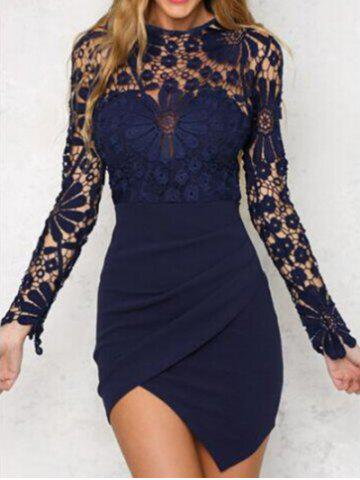 New Asymmetric Lace Panel Short Bodycon Dress