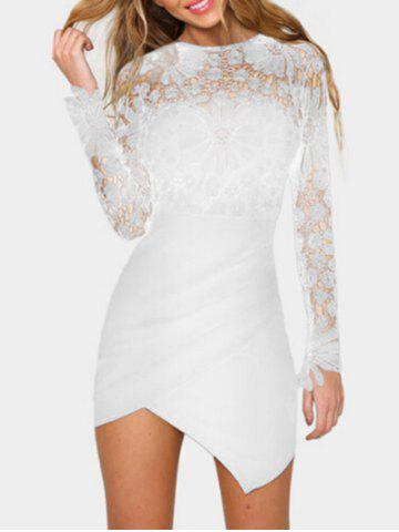 Cheap Asymmetric Lace Panel Short Bodycon Dress