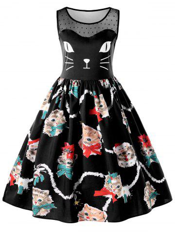 Sleeveless Kitten Print Swing Dress