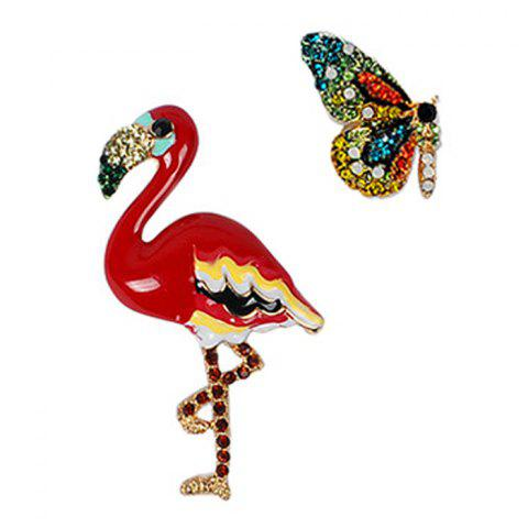 Unique Butterfly and Flamingo Faux Diamond Brooches