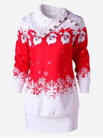 Chic Santa Claus Print Fleece Tunic Sweatshirt Dress